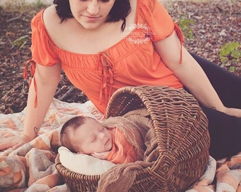 2 pc set - Cheesecloth baby wrap, Harvest Orange and Tobacco, high grade, photography prop