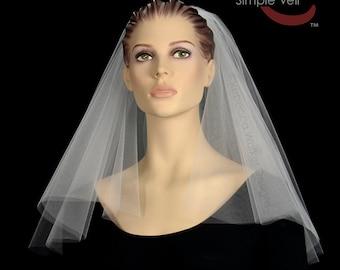 Shoulder Length Bridal Veil, Cut Edge, Center Gathered