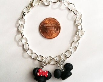 Mickey and Minnie Ear Hat Clay Charm Bracelet or Necklace