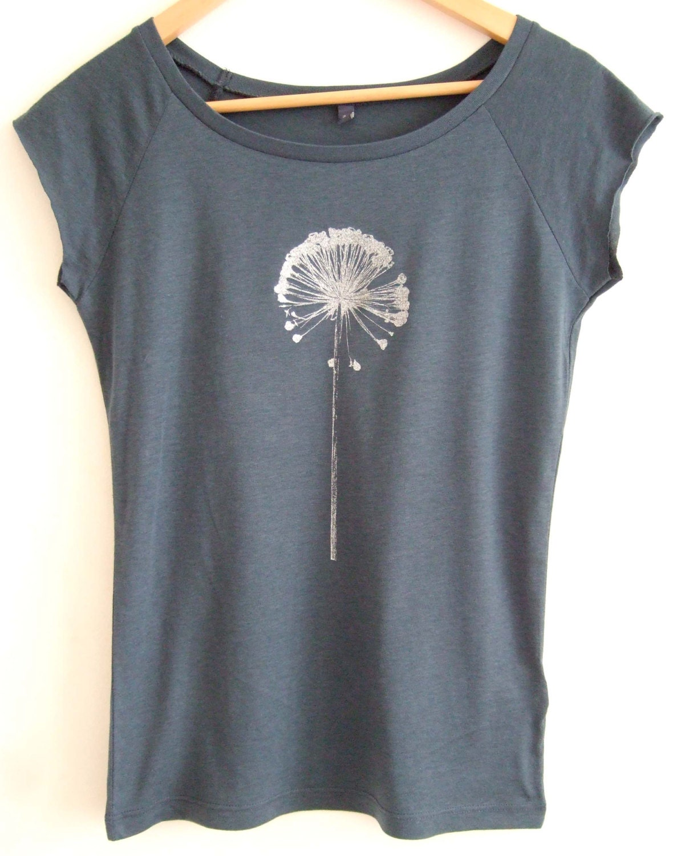 Womens bamboo organic cotton printed denim blue eco t shirt for Natural cotton t shirts