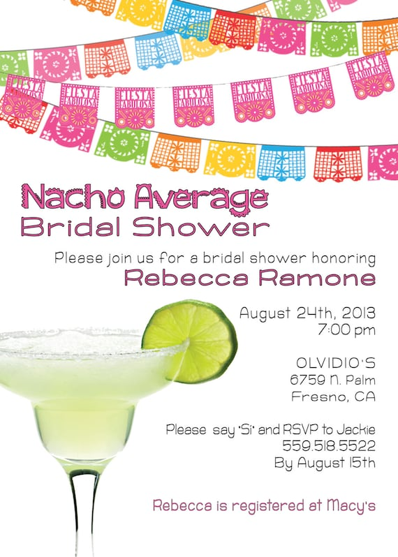 Nacho Average Bridal Shower Printed Party Invitations Fiesta