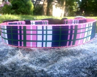 Preppy Plaid 1 Inch Width Dog Collar