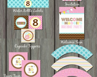 Donut Party Kit, Donut Party Package, Printable Party Kit, Doughnut Party Kit, Doughnut Party Package, Donut Birthday Invitation