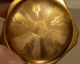 Art Deco Gold Plated Powder Compact 1920s Abstract Industrial Design