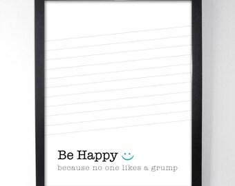 Be Happy Modern Art - Inpirational Art Print - Motivational Prints - Home Wall Art - Minimalist Art - Motivational Poster - Fun Home Decor