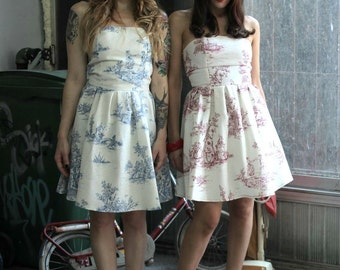 Toile de Jouy Dress // Cotton Strapless Red Toile Dress // Made to order