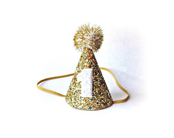 Ready to Ship First Birthday Gold Glitter Party Cone Hat