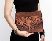 GANESH BUTTERFLY CLUTCH Tan Leather