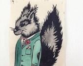 Black Squirrel Wearing Green Suit Print Linoleum Cut Relief Printmaking Handmade Hand Printed