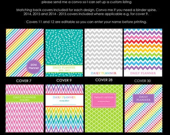 Personalised Planner Cover Instant Download printable any year Chevron PDF Editable Household Binder Planner day Agenda diary organizer