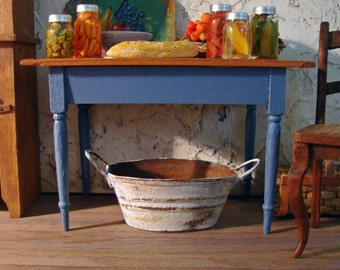 Weathered Rusty Kitchen Work Tub 1 Inch Scale Miniature Dollhouse Accessory