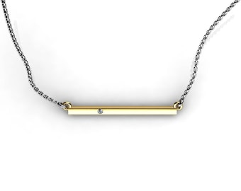 Delicate two tone 14K Yellow Gold bar necklace with White Diamond