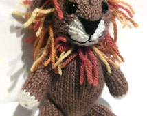 Hand Knitted Lion with Multi Coloured Mane