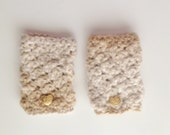 Cream and Gold Fingerless Mittens - Crocheted Mitts with Gold Heart Buttons
