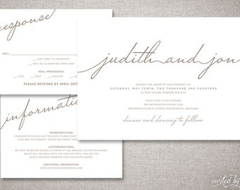 "Modern Script ""Judith"" Wedding Invitations Suite - Rustic Handwritten Calligraphy Clean - Custom DIY Digital Printable or Printed Invitation"