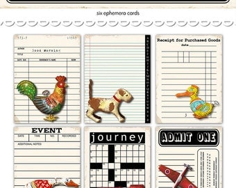 """Digital Vintage Tin Toys Ephemera Cards / library card, ticket, notepaper, crossword / 3"""" by 4"""" / downloadable / printable"""
