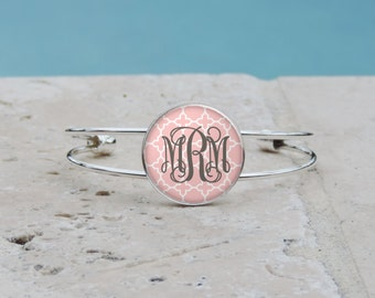 Shabby Chic Light Pink Quatrefoil Monogram Pendant, Monogram Jewelry, Monogram Accessories, Bridesmaid Gift, Gifts under 10, Gifts for Her