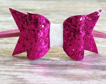 Pink Glitter Bow Headband On pink Elastic, Baby Bow Headband Easter, headband, photo prop, Baby headbands, Hair Accessories.