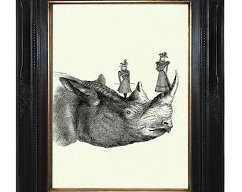 Girls Art Print playing on a Rhino Victorian Steampunk Art Print Rhinoceros African Zoo Animal Natural History