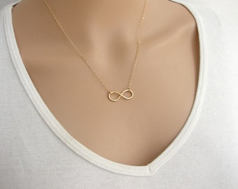 Goldfilled Infinity Necklace, Infinity Charm Suspended on Goldfilled Chain, Gold accessories ,Gold necklace.