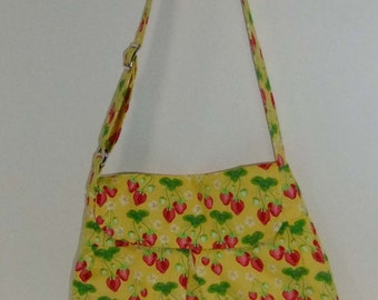 Strawberry Purse - large - yellow and strawberries - adjustable strap