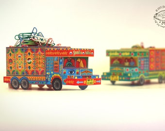 DIY Paper Toy / Favor Box | 'Goodies Carrier' Trucks from India: Set of 2 | Printable Papercraft Letter and A4 templates | Instant download