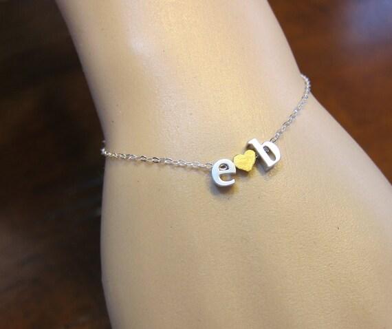Two lowercase a-z Initials Bracelet, Couple bracelet, Name Bracelet, Boyfriend Girlfriend, Personalize Necklace, Valentines Day
