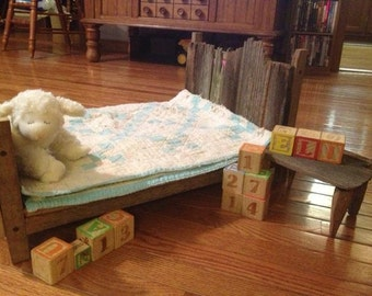 NEWBORN PHOTO PROP bed and end table set for infant photos,or as doll bed custom made of rustic weathered barn wood great for photography