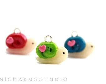 Kawaii Cute Snail Polymer Clay Charm - Green, Pink or Blue