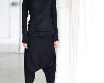 Charcoal Melange Drape Top/ Long Sleeved Blouse/ Charcoal Melange Looose Top/ Drape Blouse by Arya Sense/ TLUB14BM