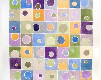 Original Watercolor Painting, Abstract Geometric Watercolor, Tetrad Color Harmony, Geometric ooak watercolor painting