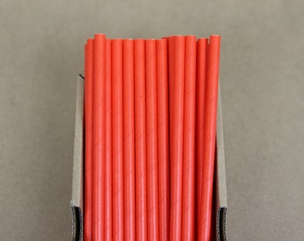25 solid bright orange paper straws (PS3004) - party straws