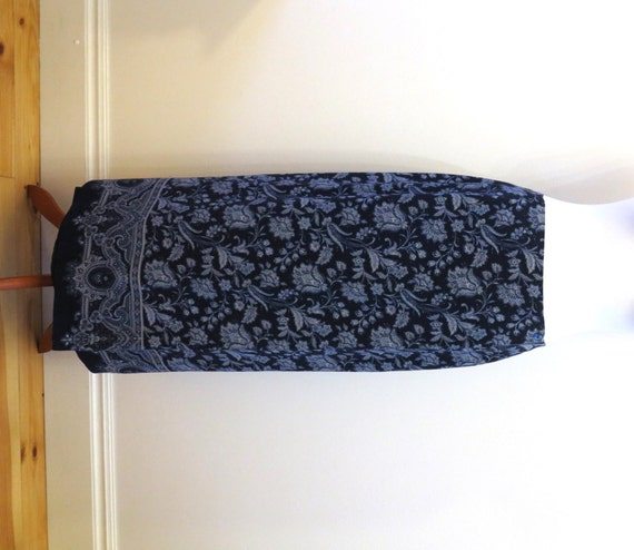 navy light blue maxi skirt paisley floral by vintageoffer