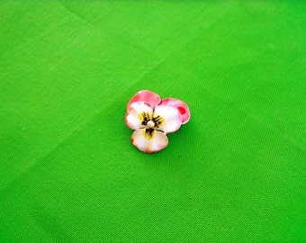 Pink and White Enamel Flower Brooch (Item 366)