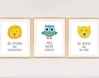 Animal print Set fo 3 - INSTANT DOWNLOAD - Printable nursery art - Lion Owl and Bear quotes