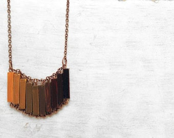 Grunge Wood Geometric Necklace // OUT OF AFRICA // Brown // Mustard // Boho-Chic Jewelry // Hand-Painted Necklace / Minimal Jewelry / Modern