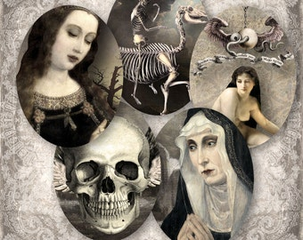 Beauty and Bones - 30x40 mm Ovals - Digital Collage Sheet (075) - instant download