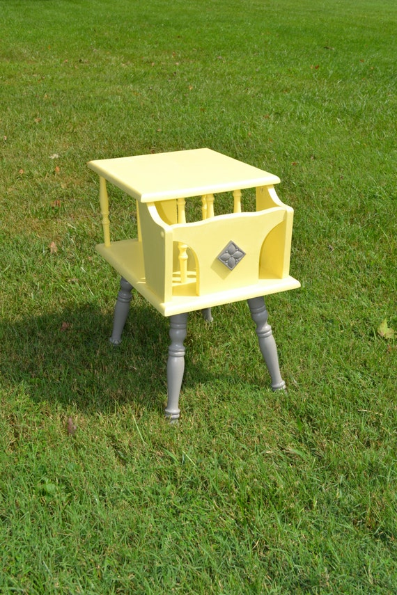 Gray and yellow side table hand painted table by for Yellow painted table