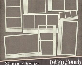 Digital Stamp Frames Clip Art - Digital Scrapbook Elements - Stamp Cluster Digital Frames Embellishments
