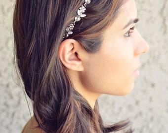 THE SOPHIA Silver Flower Headband Rhinestones Summer Gypsy Boho Bohemian Elegant Fashion Hair Band Flower Crown Hair Jewelry Chain Coachella