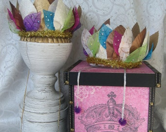 Stunning paper crown constructed from hand cut leaves. Fabulous personalized gift for women and girls of all ages.