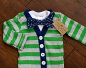 Baby Boy Gray/Green and Navy Striped Cardigan Bodysuit Polka Dot Bow Tie Set 0-24 Months