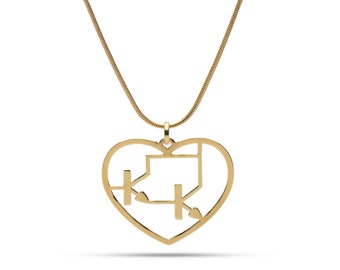 Darlington heart of gold - science necklace - electronic jewelry - technology - Techy Darlington pendant - 24 Karat gold plated necklace