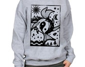Yin Yang Elements Koi Carp Seasons Crew Neck Sweatshirt