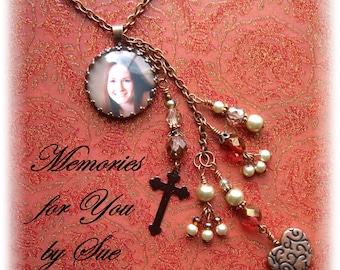 Custom - Personalized - Round Copper Glass Bezel Pendant Necklace - Keepsake - Memorial