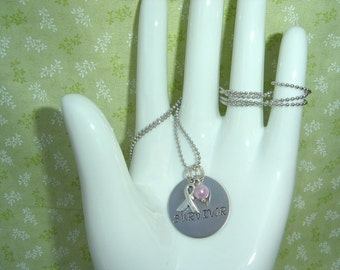 Breast cancer awareness  stainless steel  hand stamped