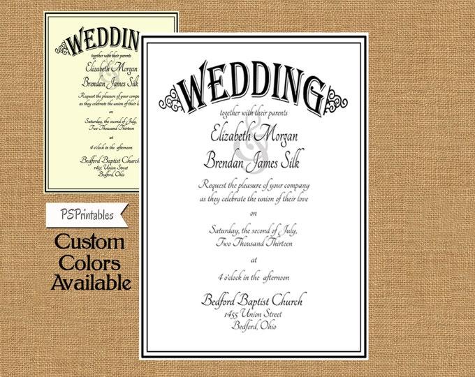 Formal Style Wedding Invitation - DIY Printable invitation