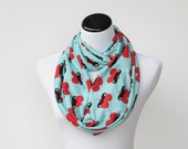 Infinity scarf love red hearts mustache scarf teal loop scarf - circle scarf Valentines snood scarf - Valentine day gift idea for her