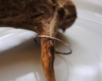 Kate | simple modern hand forged and hammered recycled fine silver thin band, modern stacking ring, MADE TO ORDER