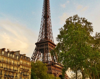 Eiffel Tower at Sunset in Paris, France - 8x10 Color Photo City Art Picture